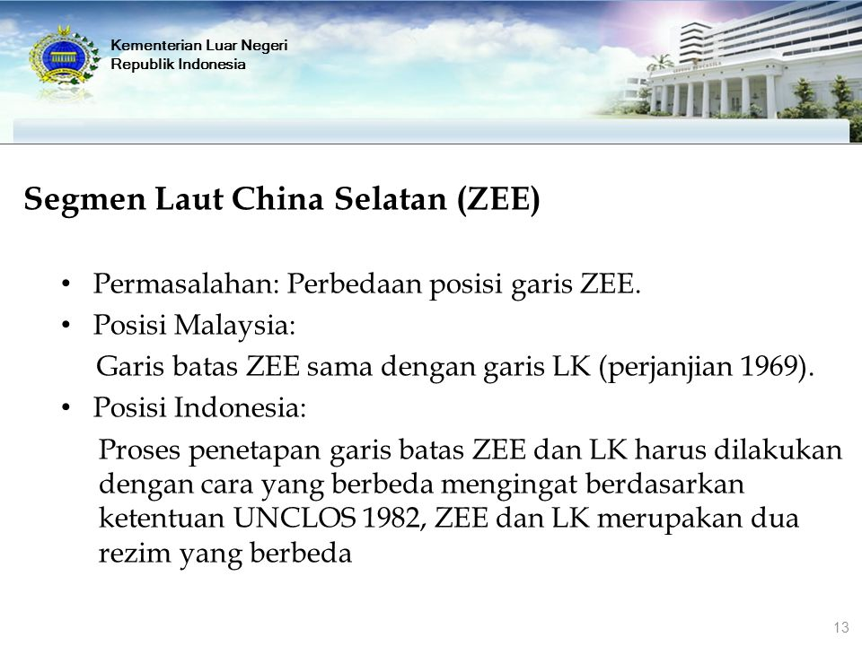 Segmen Laut China Selatan (ZEE) Permasalahan: Perbedaan posisi garis ZEE. Posisi Malaysia: Garis batas ZEE sama dengan garis LK (perjanjian 1969). Pos