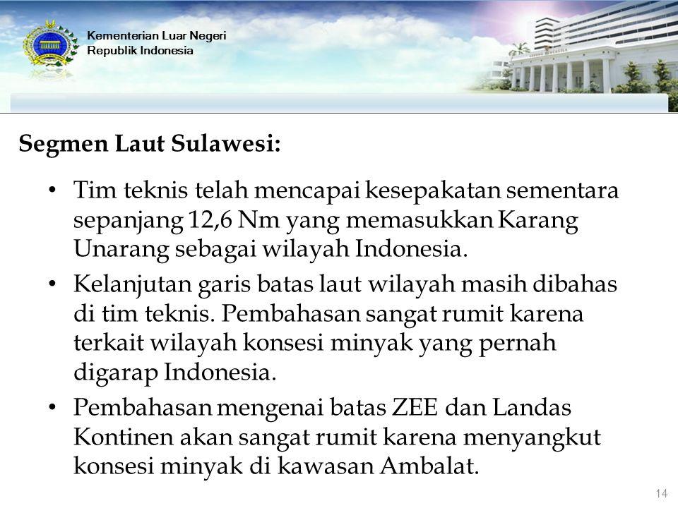 Kementerian Luar Negeri Republik Indonesia Segmen Laut Sulawesi: Tim teknis telah mencapai kesepakatan sementara sepanjang 12,6 Nm yang memasukkan Kar