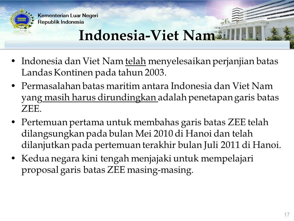 Indonesia dan Viet Nam telah menyelesaikan perjanjian batas Landas Kontinen pada tahun 2003. Permasalahan batas maritim antara Indonesia dan Viet Nam