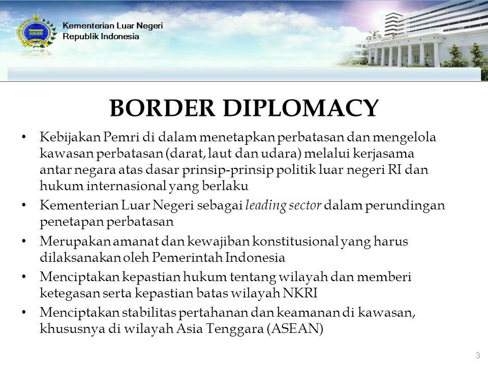 Kementerian Luar Negeri Republik Indonesia BORDER DIPLOMACY Kebijakan Pemri di dalam menetapkan perbatasan dan mengelola kawasan perbatasan (darat, la