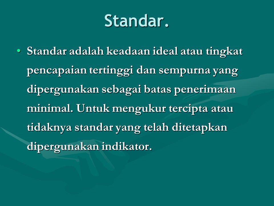 Standar. Standar adalah keadaan ideal atau tingkat pencapaian tertinggi dan sempurna yang dipergunakan sebagai batas penerimaan minimal. Untuk menguku