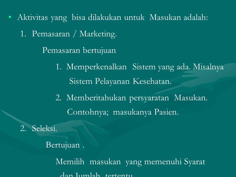 Aktivitas yang bisa dilakukan untuk Masukan adalah: 1. 1.Pemasaran / Marketing. Pemasaran bertujuan 1. Memperkenalkan Sistem yang ada. Misalnya Sistem