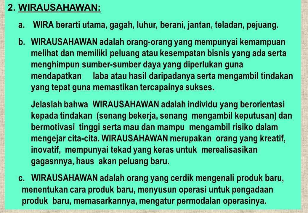 2.WIRAUSAHAWAN: a. WIRA berarti utama, gagah, luhur, berani, jantan, teladan, pejuang.