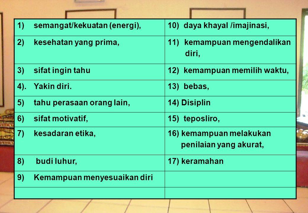 1)semangat/kekuatan (energi),10) daya khayal /imajinasi, 2) kesehatan yang prima,11)kemampuan mengendalikan diri, 3) sifat ingin tahu12) kemampuan memilih waktu, 4).