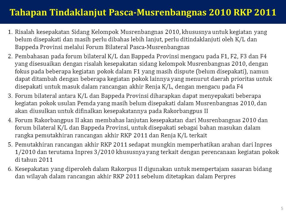 Tahapan Tindaklanjut Pasca-Musrenbangnas 2010 RKP 2011 1.Risalah kesepakatan Sidang Kelompok Musrenbangnas 2010, khususnya untuk kegiatan yang belum disepakati dan masih perlu dibahas lebih lanjut, perlu ditindaklanjuti oleh K/L dan Bappeda Provinsi melalui Forum Bilateral Pasca-Musrenbangnas 2.Pembahasan pada forum bilateral K/L dan Bappeda Provinsi mengacu pada F1, F2, F3 dan F4 yang disesuaikan dengan risalah kesepakatan sidang kelompok Musrenbangnas 2010, dengan fokus pada beberapa kegiatan pokok dalam F1 yang masih dispute (belum disepakati), namun dapat ditambah dengan beberapa kegiatan pokok lainnya yang menurut daerah prioritas untuk disepakati untuk masuk dalam rancangan akhir Renja K/L, dengan mengacu pada F4 3.Forum bilateral antara K/L dan Bappeda Provinsi diharapkan dapat menyepakati beberapa kegiatan pokok usulan Pemda yang masih belum disepakati dalam Musrenbangnas 2010, dan akan diusulkan untuk difinalkan kesepakatannya pada Rakorbangpus II 4.Forum Rakorbangpus II akan membahas lanjutan kesepakatan dari Musrenbangnas 2010 dan forum bilateral K/L dan Bappeda Provinsi, untuk disepakati sebagai bahan masukan dalam rangka pemutakhiran rancangan akhir RKP 2011 dan Renja K/L terkait 5.Pemutakhiran rancangan akhir RKP 2011 sedapat mungkin memperhatikan arahan dari Inpres 1/2010 dan terutama Inpres 3/2010 khususnya yang terkait dengan perencanaan kegiatan pokok di tahun 2011 6.Kesepakatan yang diperoleh dalam Rakorpus II digunakan untuk mempertajam sasaran bidang dan wilayah dalam rancangan akhir RKP 2011 sebelum ditetapkan dalam Perpres 5