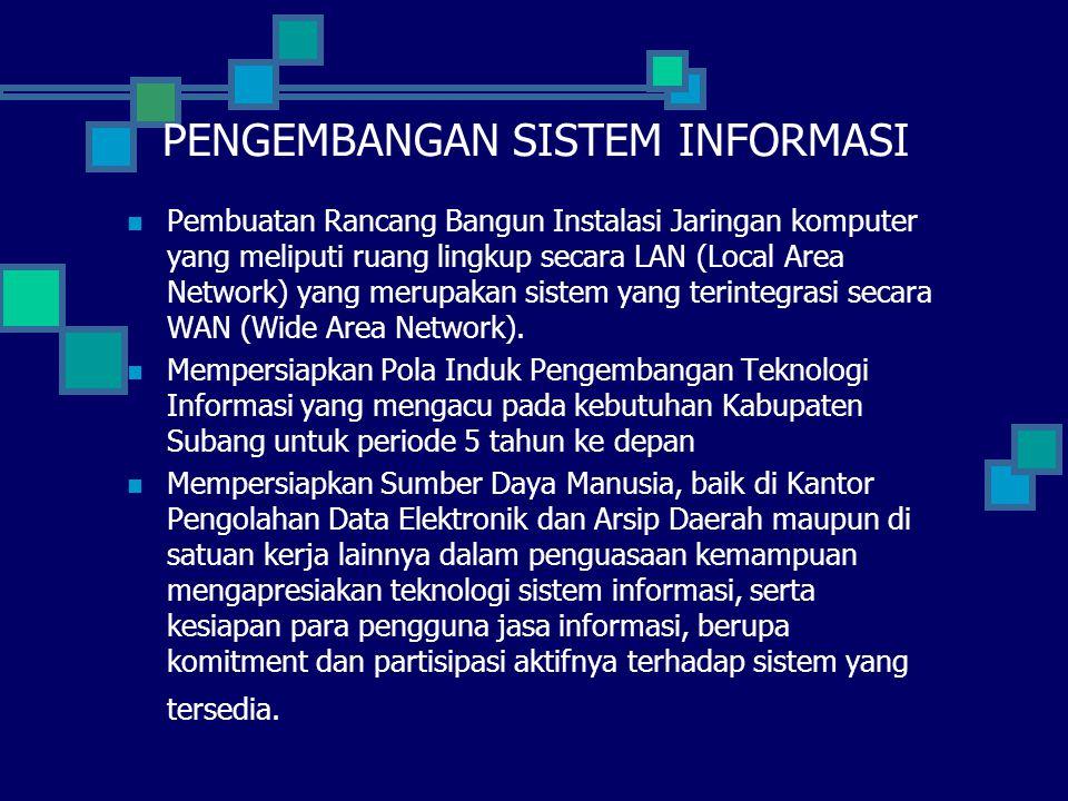 PENGEMBANGAN SISTEM INFORMASI Pembuatan Rancang Bangun Instalasi Jaringan komputer yang meliputi ruang lingkup secara LAN (Local Area Network) yang merupakan sistem yang terintegrasi secara WAN (Wide Area Network).