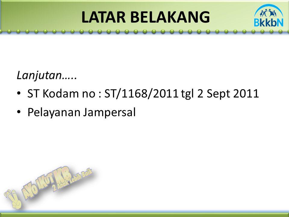 Lanjutan….. ST Kodam no : ST/1168/2011 tgl 2 Sept 2011 Pelayanan Jampersal LATAR BELAKANG