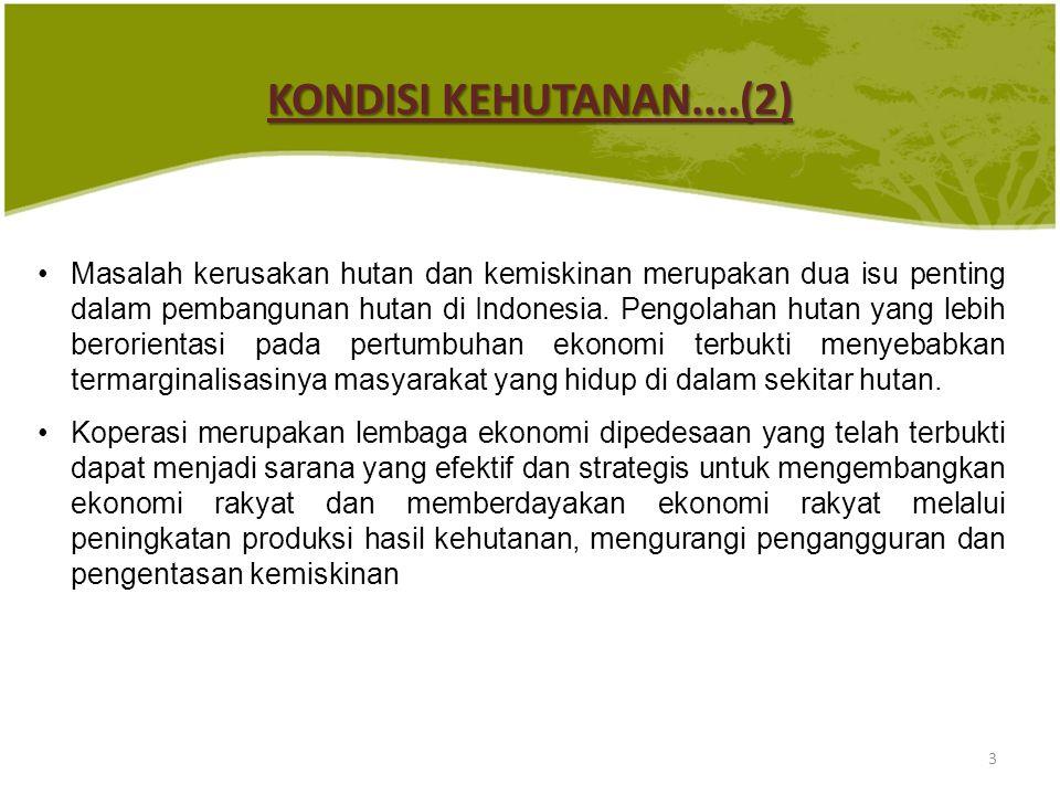 KONDISI KEHUTANAN....(2) Masalah kerusakan hutan dan kemiskinan merupakan dua isu penting dalam pembangunan hutan di Indonesia. Pengolahan hutan yang