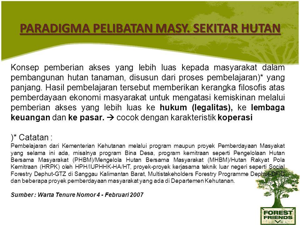PARADIGMA PELIBATAN MASY. SEKITAR HUTAN Konsep pemberian akses yang lebih luas kepada masyarakat dalam pembangunan hutan tanaman, disusun dari proses