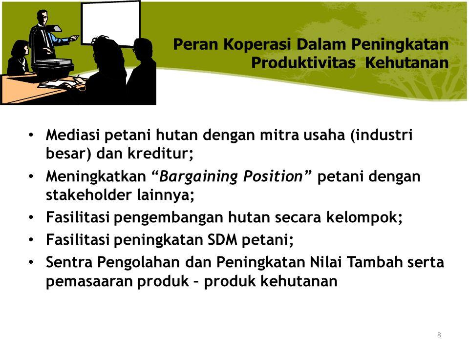 """8 Peran Koperasi Dalam Peningkatan Produktivitas Kehutanan Mediasi petani hutan dengan mitra usaha (industri besar) dan kreditur; Meningkatkan """"Bargai"""