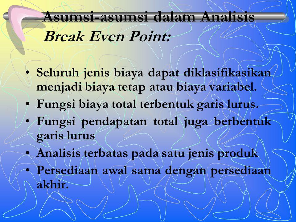 Asumsi-asumsi dalam Analisis Break Even Point: Seluruh jenis biaya dapat diklasifikasikan menjadi biaya tetap atau biaya variabel.