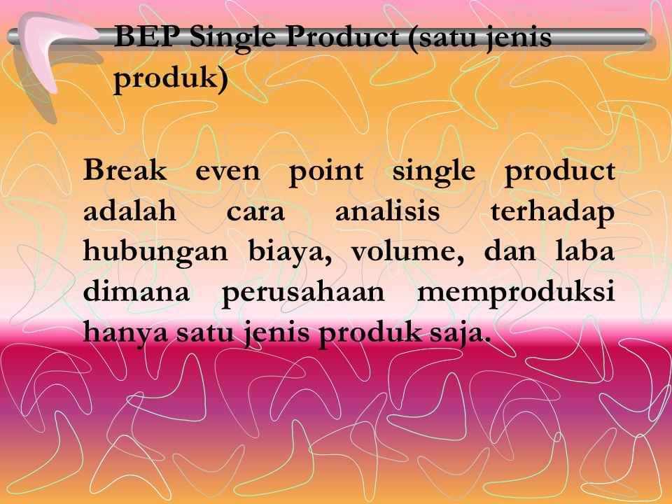 BEP Single Product (satu jenis produk) Break even point single product adalah cara analisis terhadap hubungan biaya, volume, dan laba dimana perusahaan memproduksi hanya satu jenis produk saja.