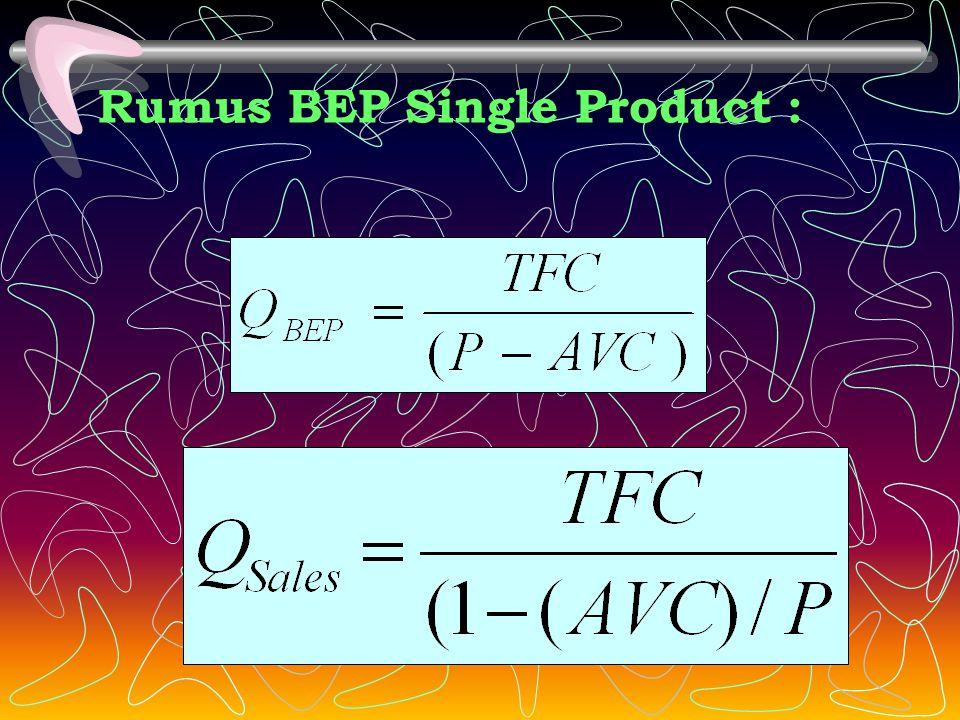 BEP Single Product (satu jenis produk) Break even point single product adalah cara analisis terhadap hubungan biaya, volume, dan laba dimana perusahaa