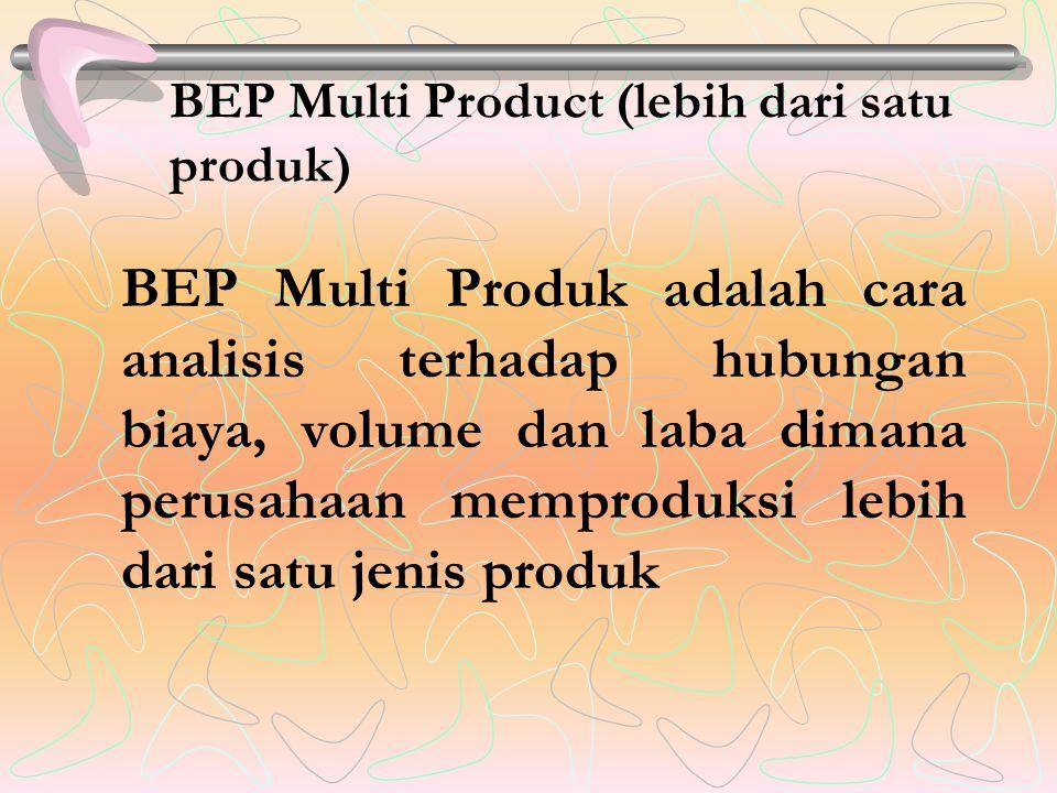 BEP Multi Product (lebih dari satu produk) BEP Multi Produk adalah cara analisis terhadap hubungan biaya, volume dan laba dimana perusahaan memproduksi lebih dari satu jenis produk