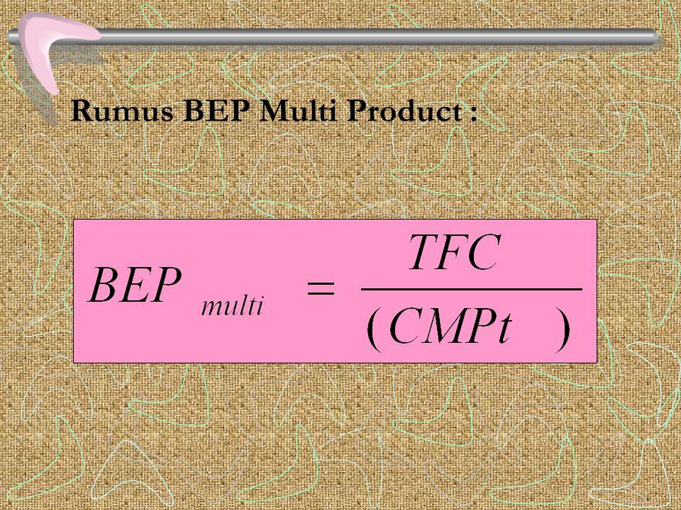 BEP Multi Product (lebih dari satu produk) BEP Multi Produk adalah cara analisis terhadap hubungan biaya, volume dan laba dimana perusahaan memproduks