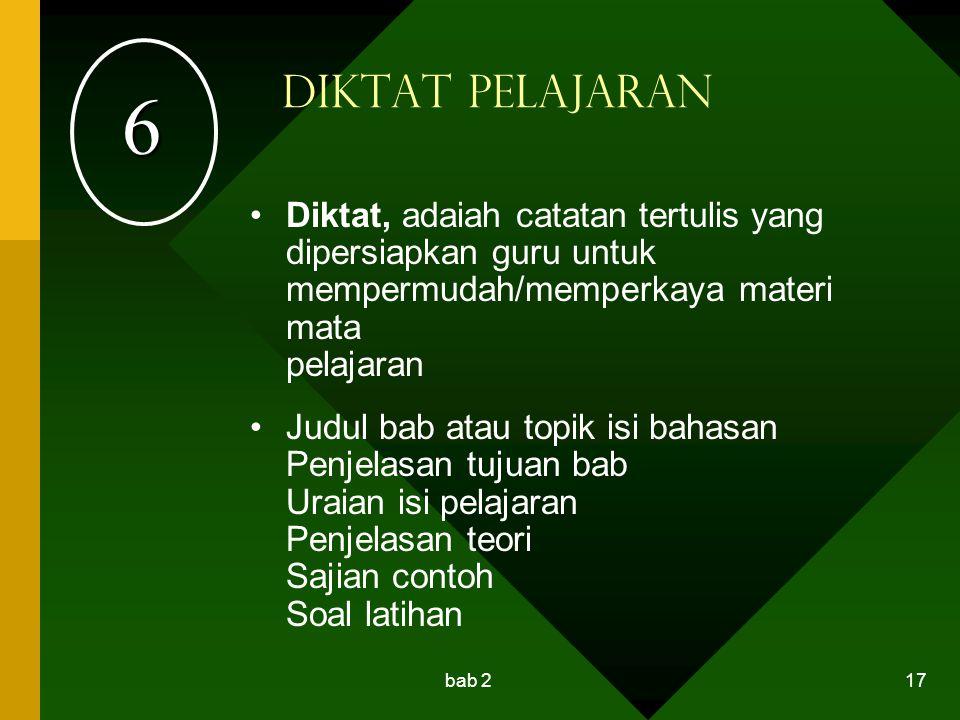 bab 2 17 Diktat Pelajaran Diktat, adaiah catatan tertulis yang dipersiapkan guru untuk mempermudah/memperkaya materi mata pelajaran Judul bab atau top