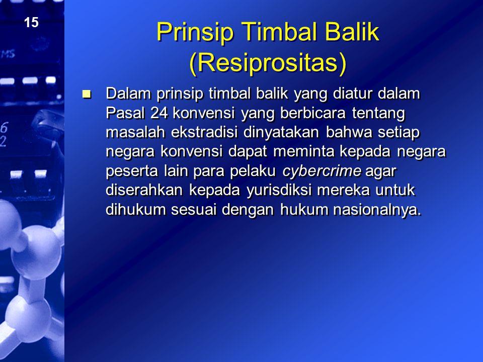 15 Prinsip Timbal Balik (Resiprositas) Dalam prinsip timbal balik yang diatur dalam Pasal 24 konvensi yang berbicara tentang masalah ekstradisi dinyat