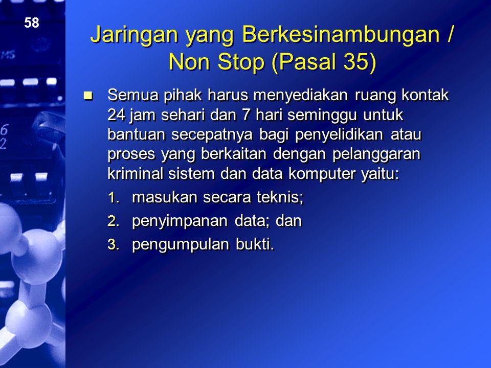 58 Jaringan yang Berkesinambungan / Non Stop (Pasal 35) Semua pihak harus menyediakan ruang kontak 24 jam sehari dan 7 hari seminggu untuk bantuan sec