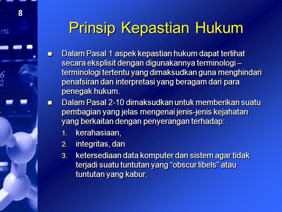 9 Prinsip Tanggung Jawab (liability) (I) Para pelaku yang menyerang kerahasiaan, integritas, dan ketersediaan data komputer dan sistem seperti yang diatur dalam Pasal 2 hingga 6 konvensi yaitu: 1.