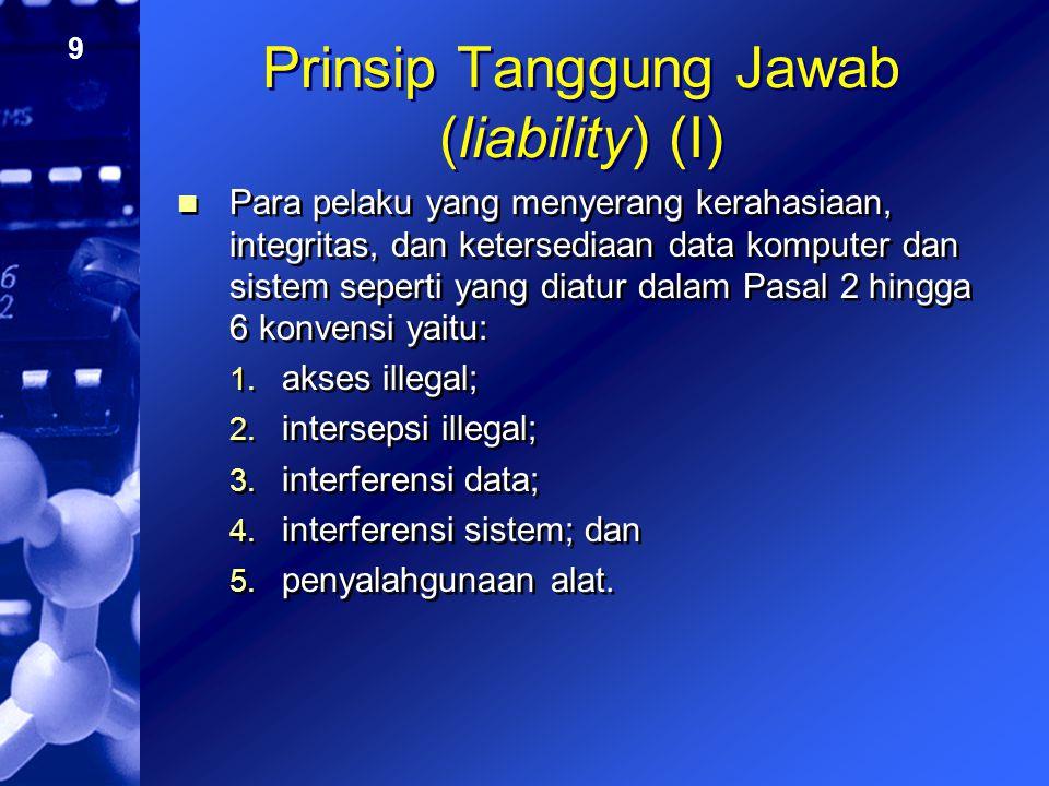 10 Prinsip Tanggung Jawab (liability) (II) Para pelaku yang melakukan penyerangan yang terkait dengan komputer seperti yang diatur dalam Pasal 7 hingga 8 yaitu: 1.