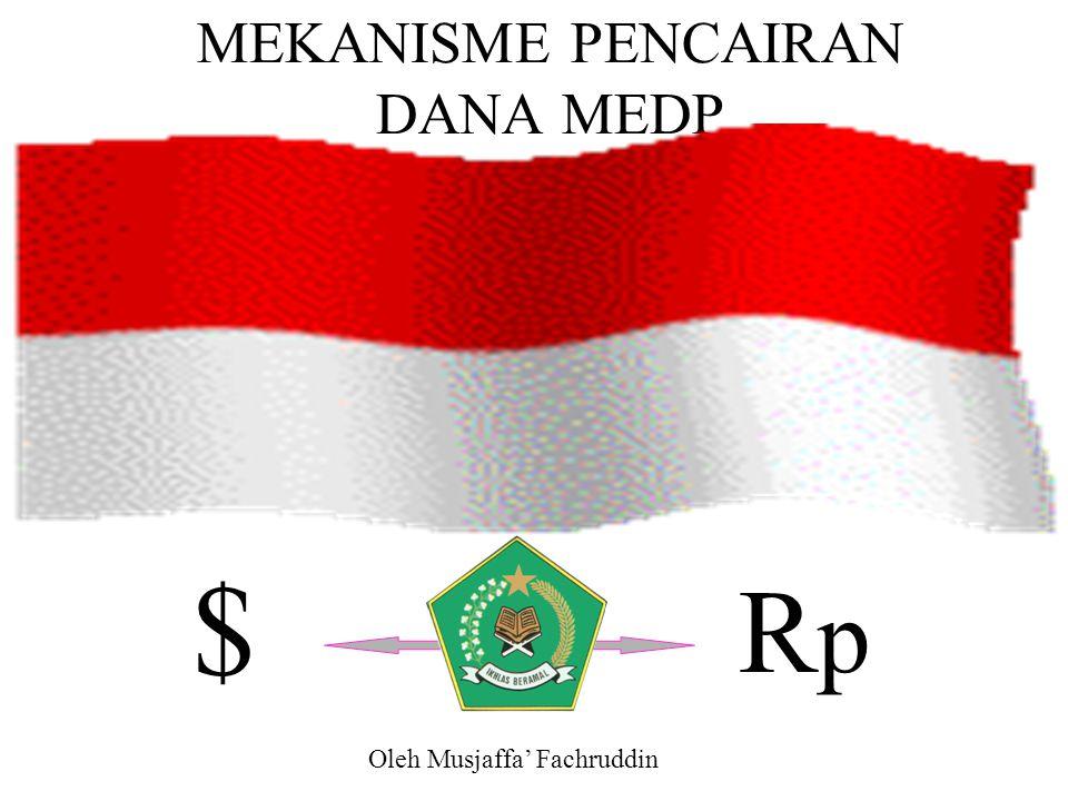 MEDP dibiayai dengan dua sumber, yaitu pinjaman (loan) dari Asian Development Bank (ADB) dan Pemerintah Indonesia (Rp) yang masuk dalam APBN, melalui RAKL dan DIPA Departemen Agama.
