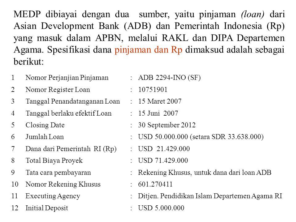 Dengan mempertimbangkan sumber dana (Rupiah Murni dan pinjaman luar negeri), lokasi madrasah program, maka pencairan dana MEDP dilakukan dengan dua model, yaitu: I.Model Umum, yaitu pencairan dana untuk membiayai program MEDP di CPMU, PCU dan DCU.