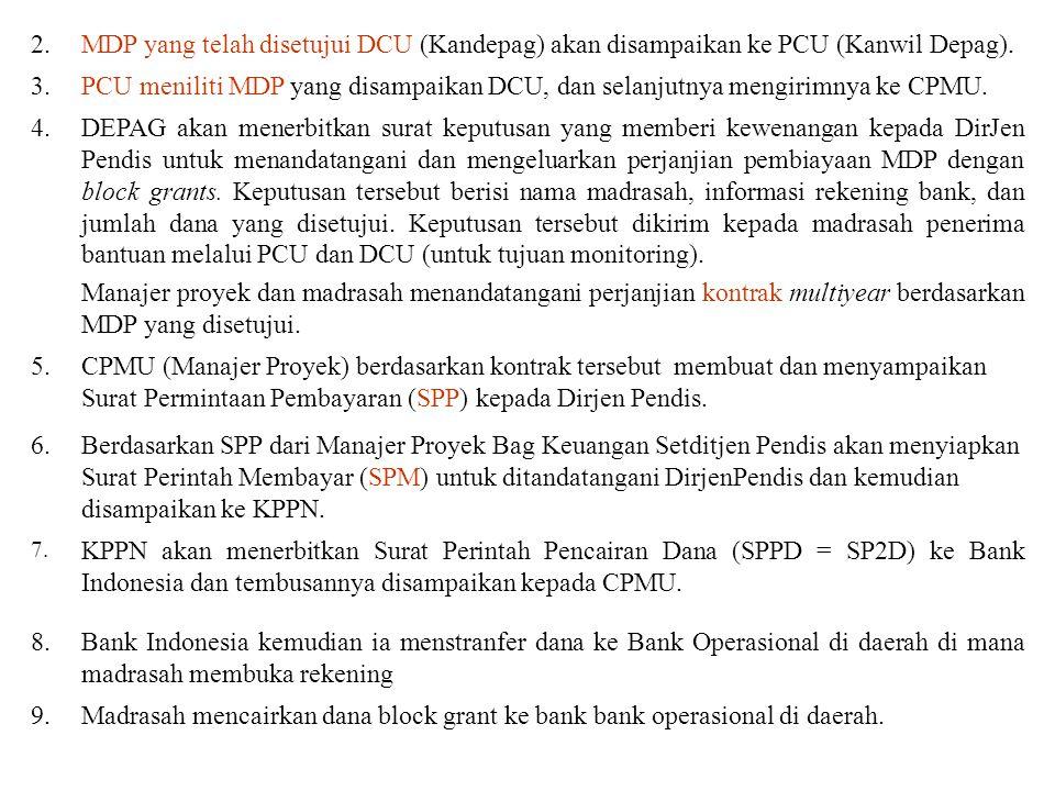 10Dengan dana block grants yang ditransfer dari bank operasional tersebut, madrasah dapat melakukan pembayaran kepada kontaktor/pemasok dan fihak ketiga lainnya dalam rangka melaksanakan MDP.