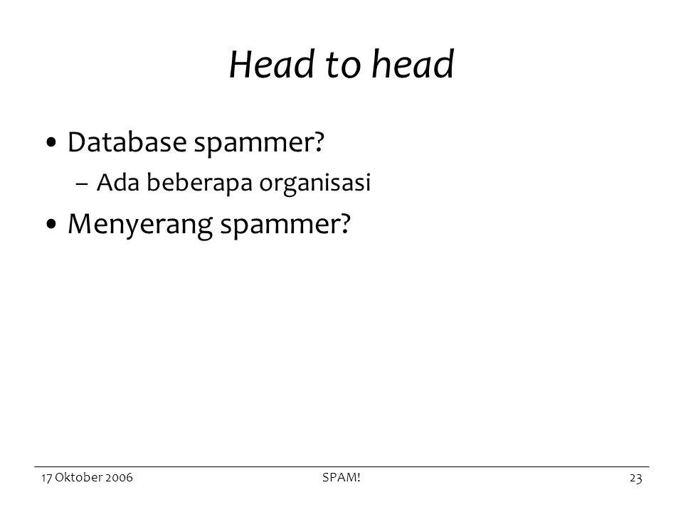 17 Oktober 2006SPAM!23 Head to head Database spammer –Ada beberapa organisasi Menyerang spammer