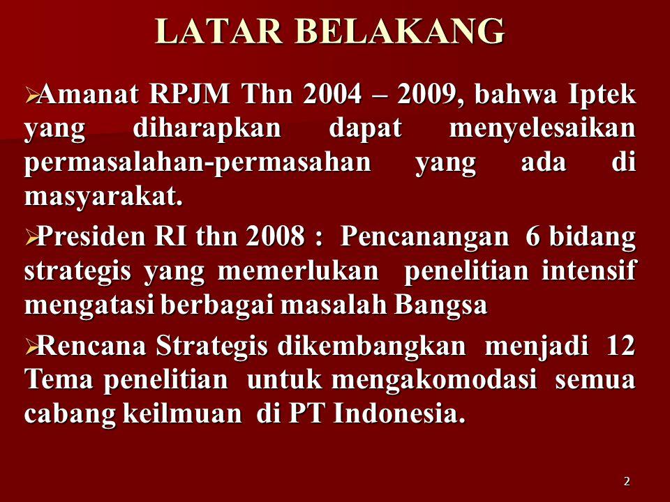 2 LATAR BELAKANG  Amanat RPJM Thn 2004 – 2009, bahwa Iptek yang diharapkan dapat menyelesaikan permasalahan-permasahan yang ada di masyarakat.  Pres