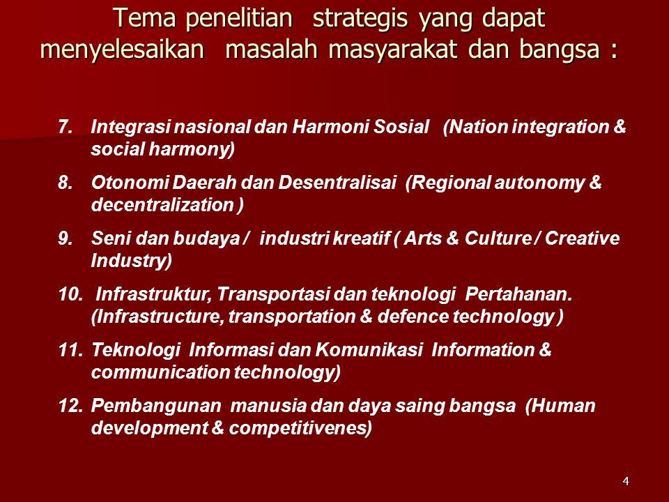 4 Tema penelitian strategis yang dapat menyelesaikan masalah masyarakat dan bangsa : 7.Integrasi nasional dan Harmoni Sosial (Nation integration & soc