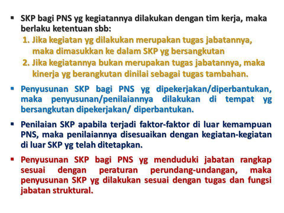  SKP bagi PNS yg kegiatannya dilakukan dengan tim kerja, maka berlaku ketentuan sbb: 1.Jika kegiatan yg dilakukan merupakan tugas jabatannya, maka di