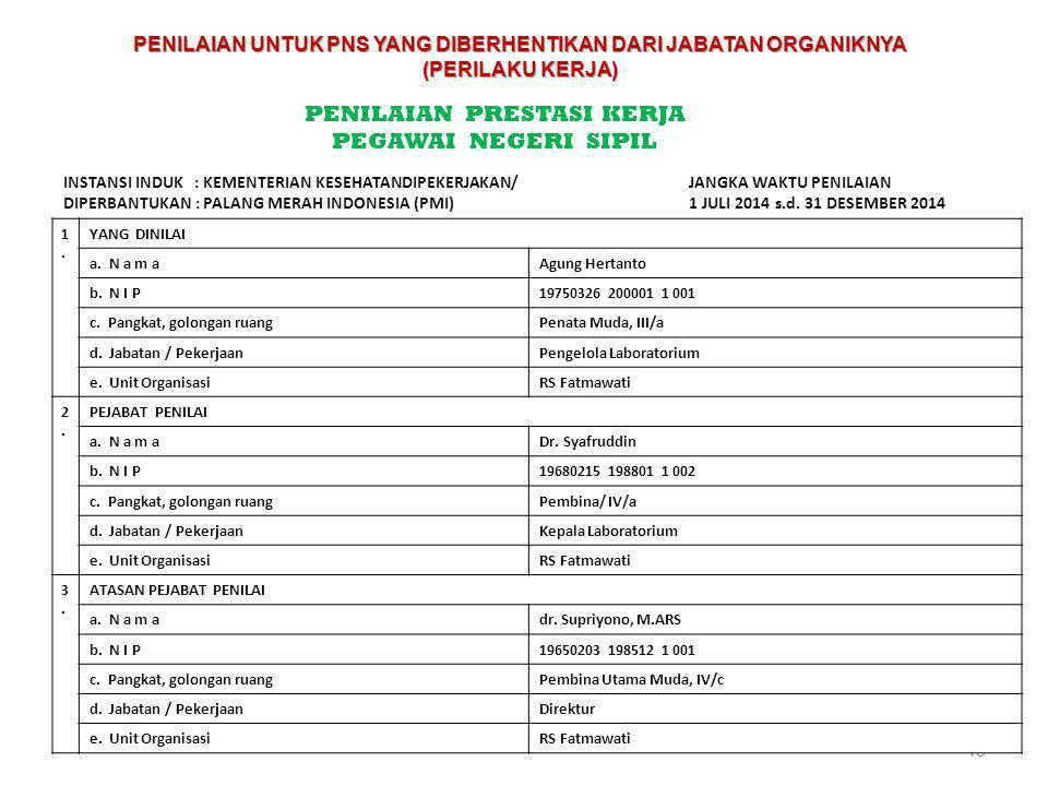 45 PENILAIAN PRESTASI KERJA PEGAWAI NEGERI SIPIL INSTANSI INDUK : KEMENTERIAN KESEHATANDIPEKERJAKAN/ DIPERBANTUKAN : PALANG MERAH INDONESIA (PMI) JANG