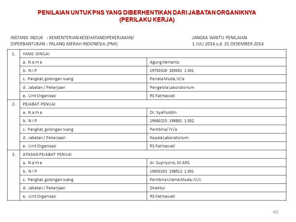 46 PENILAIAN PRESTASI KERJA PEGAWAI NEGERI SIPIL INSTANSI INDUK : KEMENTERIAN KESEHATANDIPEKERJAKAN/ DIPERBANTUKAN : PALANG MERAH INDONESIA (PMI) JANG