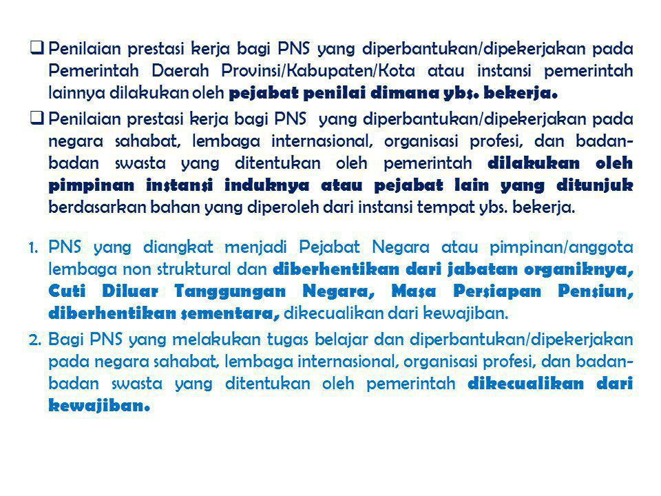 1.PNS yang diangkat menjadi Pejabat Negara atau pimpinan/anggota lembaga non struktural dan diberhentikan dari jabatan organiknya, Cuti Diluar Tanggun