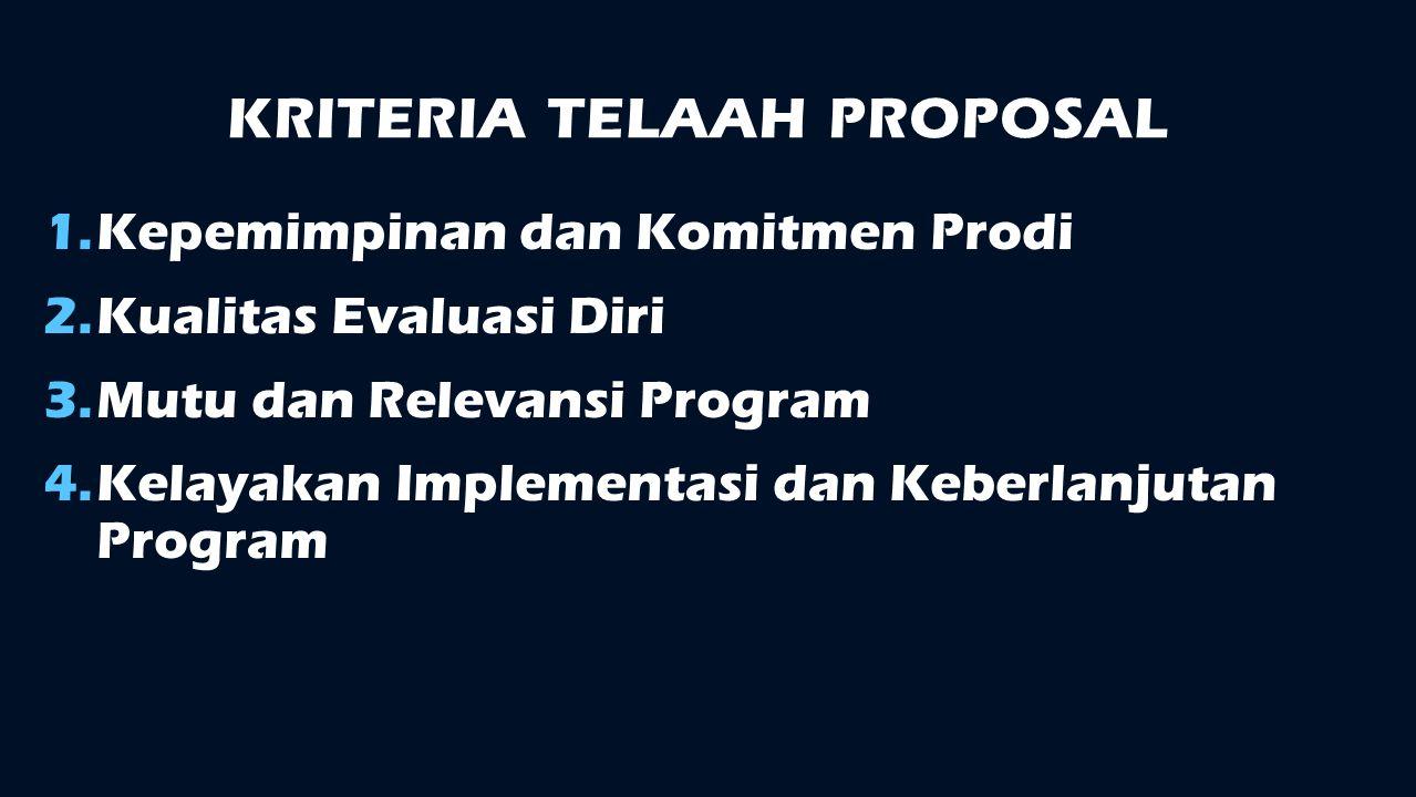 KRITERIA TELAAH PROPOSAL 1.Kepemimpinan dan Komitmen Prodi 2.Kualitas Evaluasi Diri 3.Mutu dan Relevansi Program 4.Kelayakan Implementasi dan Keberlan