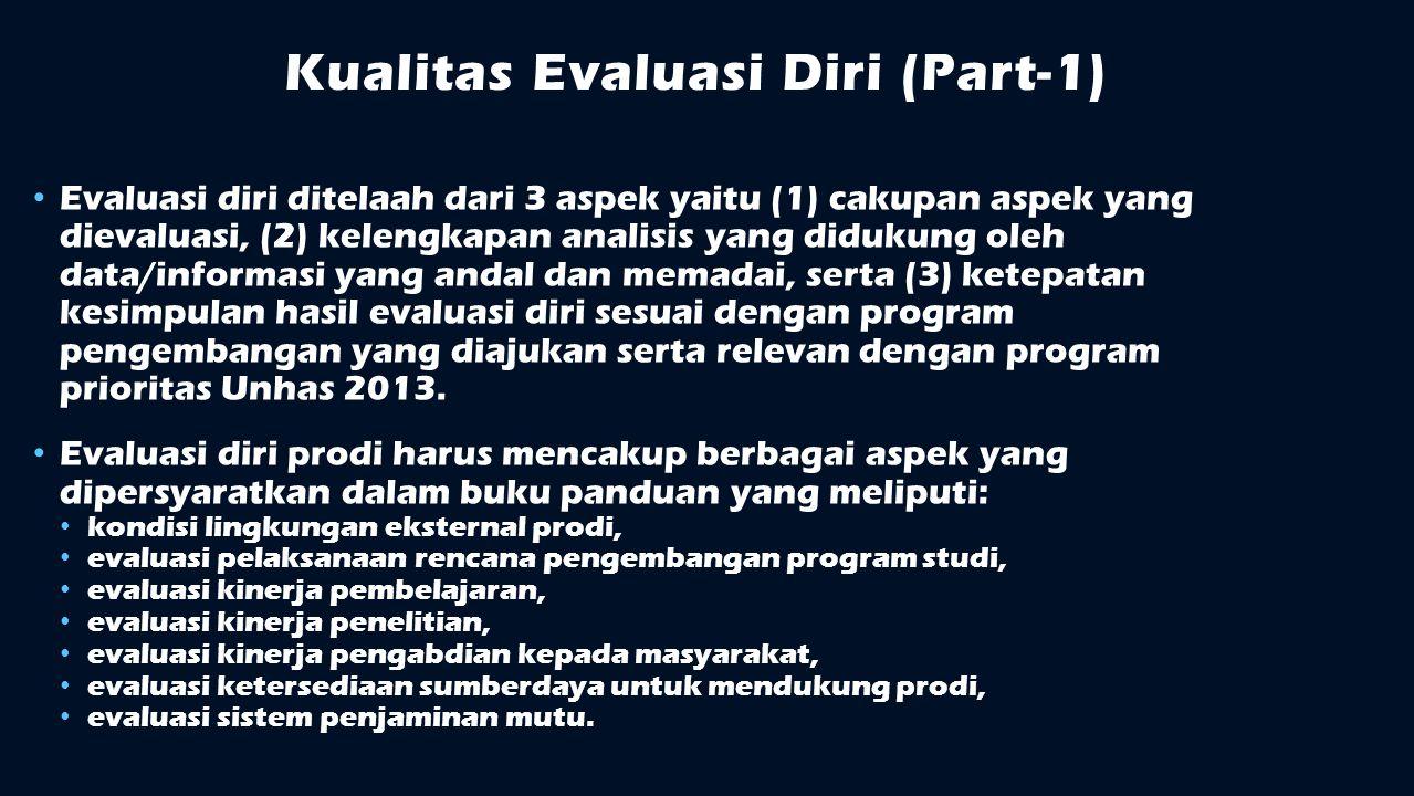 Kualitas Evaluasi Diri (Part-1) Evaluasi diri ditelaah dari 3 aspek yaitu (1) cakupan aspek yang dievaluasi, (2) kelengkapan analisis yang didukung ol