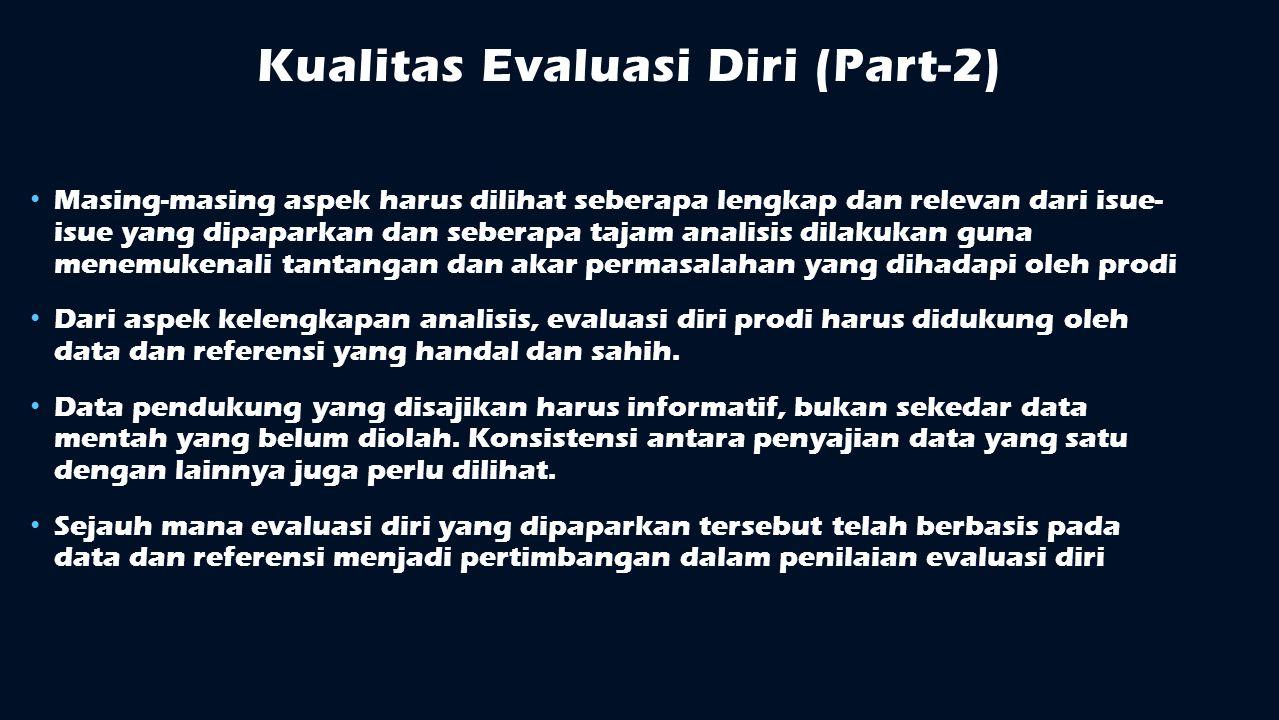 Kualitas Evaluasi Diri (Part-2) Masing-masing aspek harus dilihat seberapa lengkap dan relevan dari isue- isue yang dipaparkan dan seberapa tajam anal