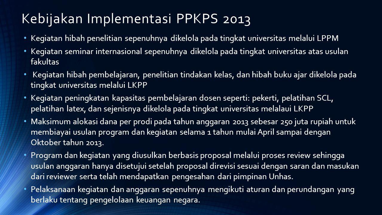 Kebijakan Implementasi PPKPS 2013 Kegiatan hibah penelitian sepenuhnya dikelola pada tingkat universitas melalui LPPM Kegiatan seminar internasional s