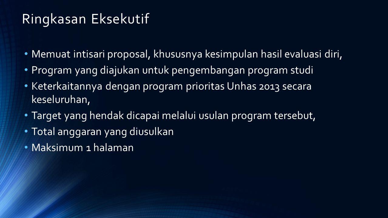 Ringkasan Eksekutif Memuat intisari proposal, khususnya kesimpulan hasil evaluasi diri, Program yang diajukan untuk pengembangan program studi Keterka