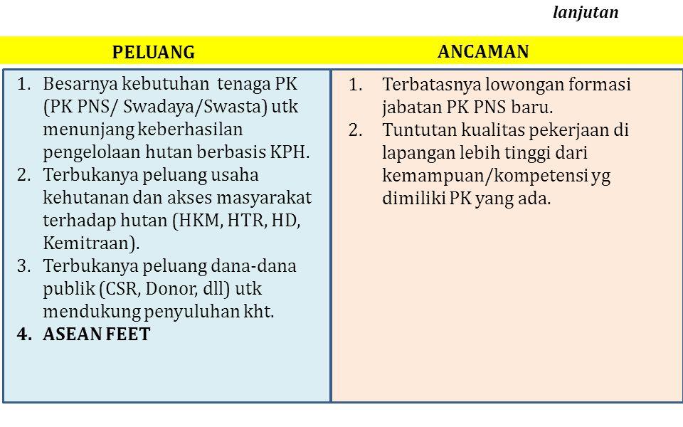 1.Terbatasnya lowongan formasi jabatan PK PNS baru. 2.Tuntutan kualitas pekerjaan di lapangan lebih tinggi dari kemampuan/kompetensi yg dimiliki PK ya