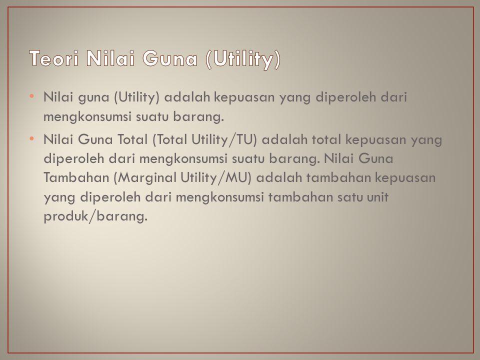 Nilai guna (Utility) adalah kepuasan yang diperoleh dari mengkonsumsi suatu barang. Nilai Guna Total (Total Utility/TU) adalah total kepuasan yang dip