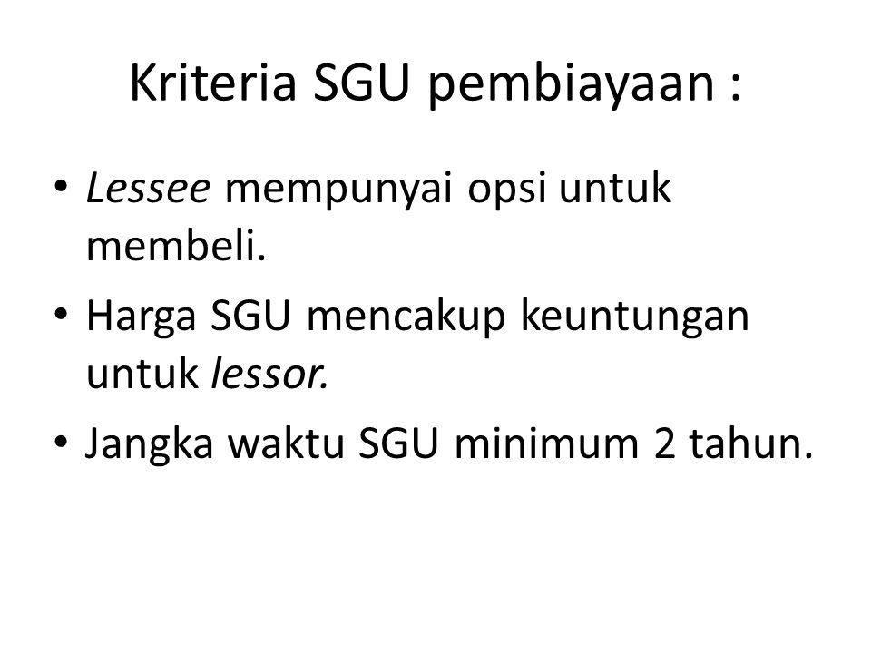 Kriteria SGU pembiayaan : Lessee mempunyai opsi untuk membeli. Harga SGU mencakup keuntungan untuk lessor. Jangka waktu SGU minimum 2 tahun.