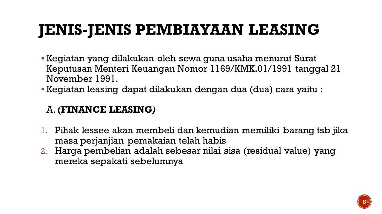 JENIS-JENIS PEMBIAYAAN LEASING  Kegiatan yang dilakukan oleh sewa guna usaha menurut Surat Keputusan Menteri Keuangan Nomor 1169/KMK.01/1991 tanggal 21 November 1991.