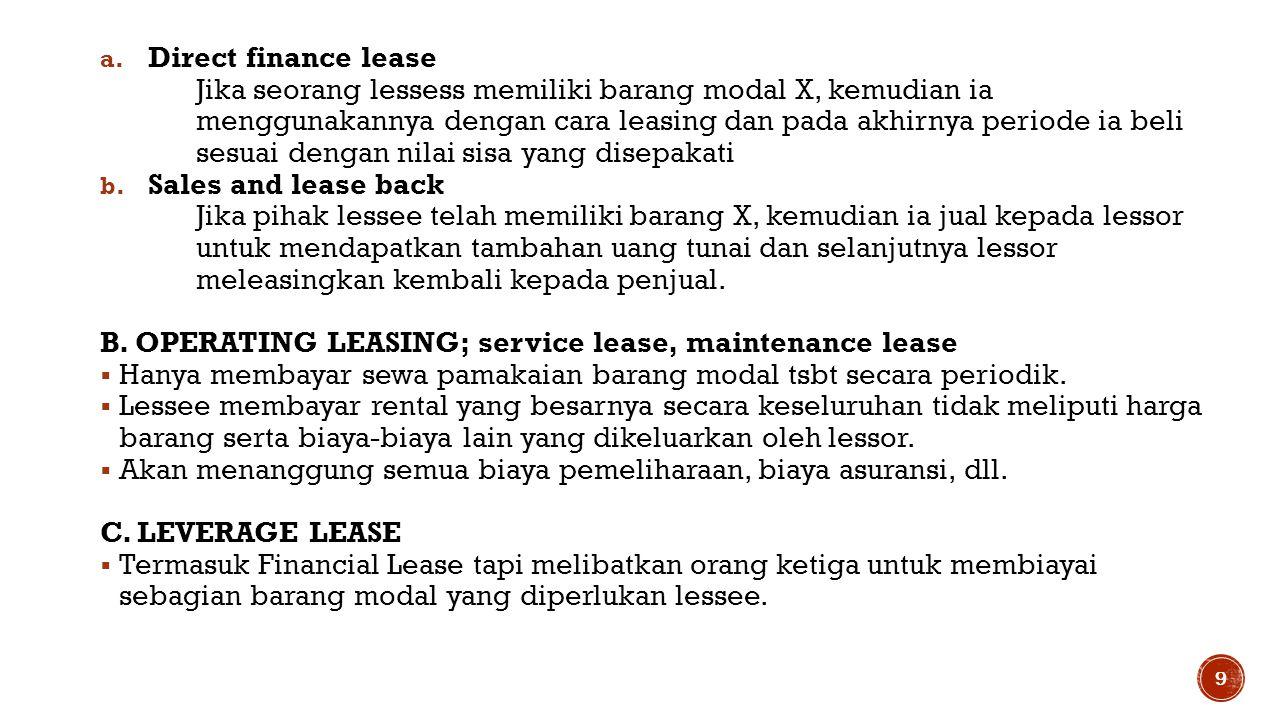 a. Direct finance lease Jika seorang lessess memiliki barang modal X, kemudian ia menggunakannya dengan cara leasing dan pada akhirnya periode ia beli