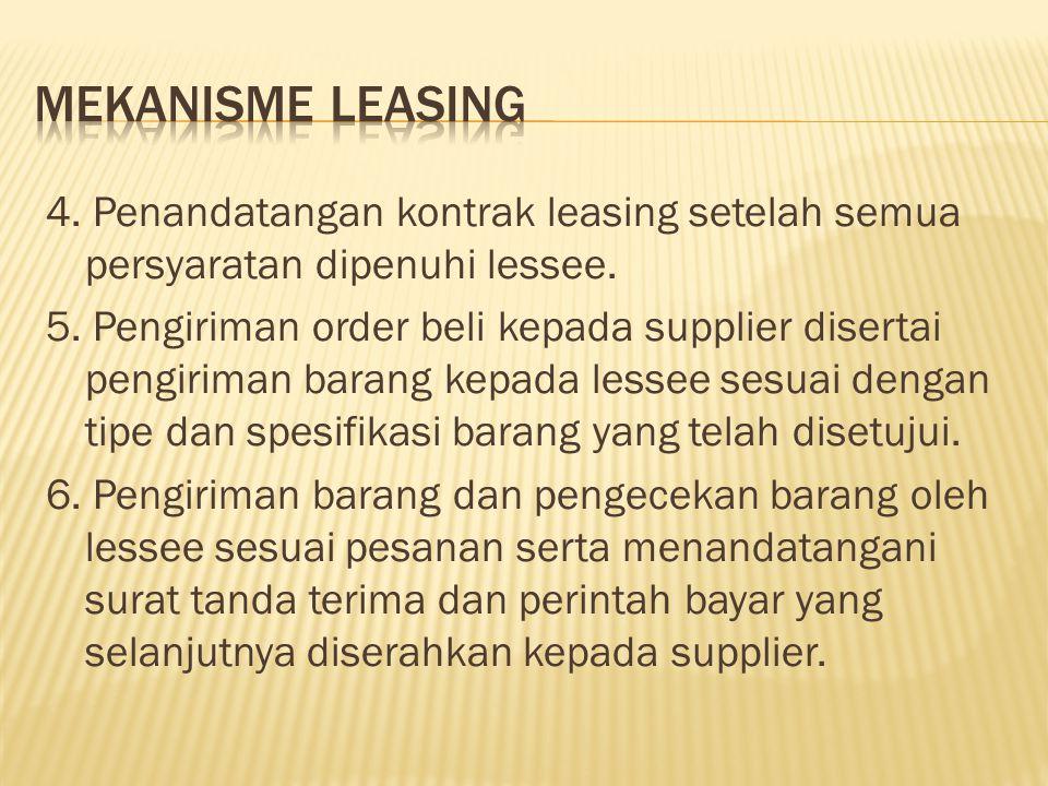 4. Penandatangan kontrak leasing setelah semua persyaratan dipenuhi lessee. 5. Pengiriman order beli kepada supplier disertai pengiriman barang kepada