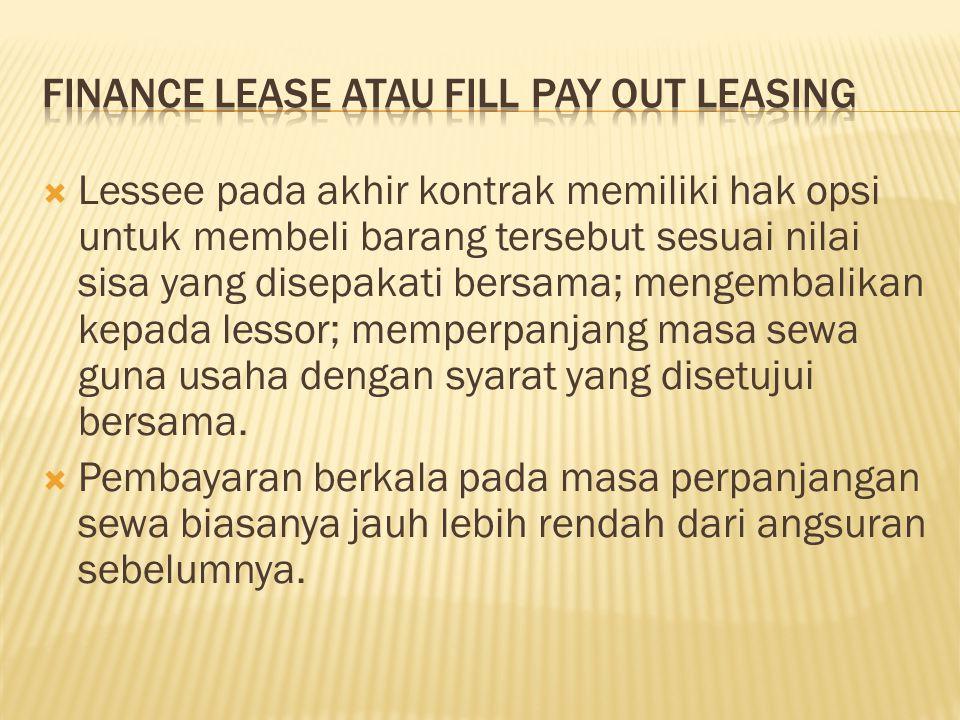  Lessee pada akhir kontrak memiliki hak opsi untuk membeli barang tersebut sesuai nilai sisa yang disepakati bersama; mengembalikan kepada lessor; me