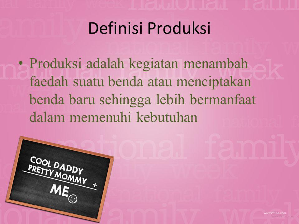 Definisi Produksi Produksi adalah kegiatan menambah faedah suatu benda atau menciptakan benda baru sehingga lebih bermanfaat dalam memenuhi kebutuhan