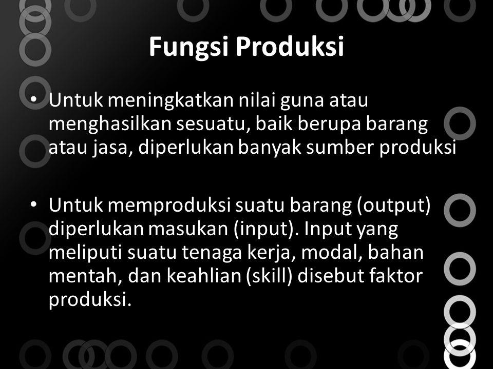 Fungsi Produksi Untuk meningkatkan nilai guna atau menghasilkan sesuatu, baik berupa barang atau jasa, diperlukan banyak sumber produksi Untuk memprod