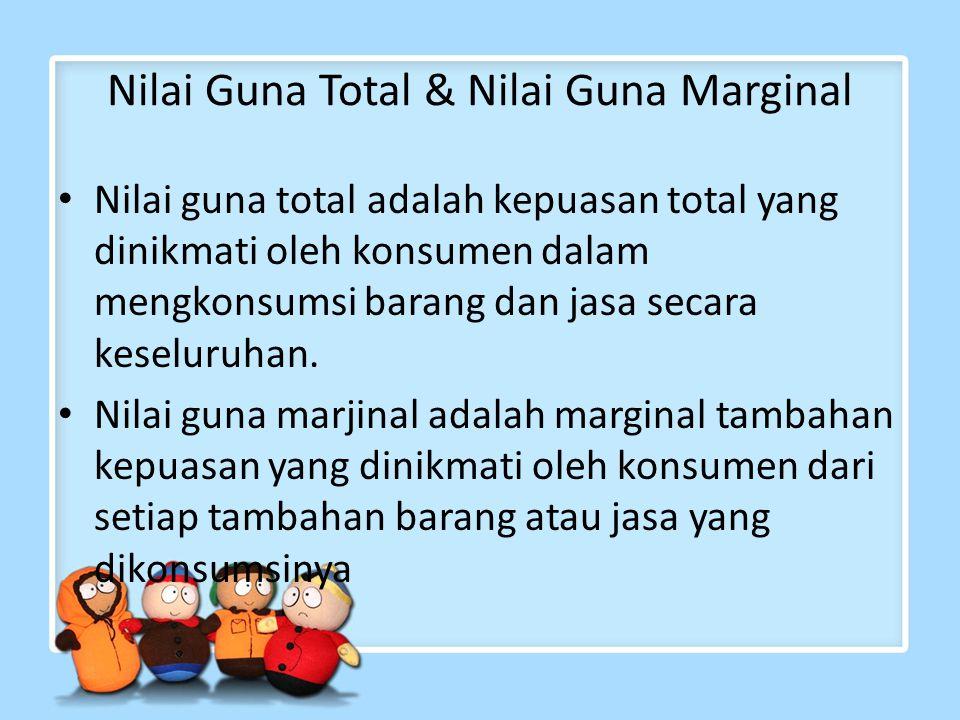 Nilai Guna Total & Nilai Guna Marginal Nilai guna total adalah kepuasan total yang dinikmati oleh konsumen dalam mengkonsumsi barang dan jasa secara k