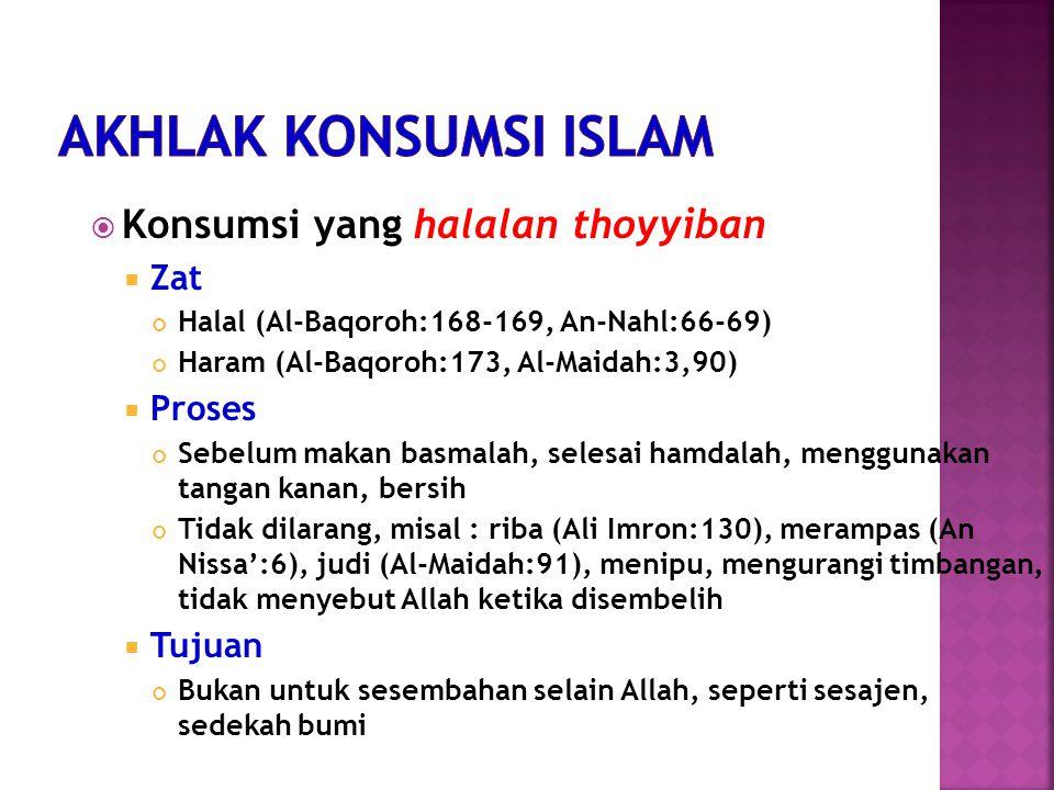 Konsumsi yang halalan thoyyiban  Zat Halal (Al-Baqoroh:168-169, An-Nahl:66-69) Haram (Al-Baqoroh:173, Al-Maidah:3,90)  Proses Sebelum makan basmalah, selesai hamdalah, menggunakan tangan kanan, bersih Tidak dilarang, misal : riba (Ali Imron:130), merampas (An Nissa':6), judi (Al-Maidah:91), menipu, mengurangi timbangan, tidak menyebut Allah ketika disembelih  Tujuan Bukan untuk sesembahan selain Allah, seperti sesajen, sedekah bumi